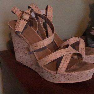 High heel cork sandals